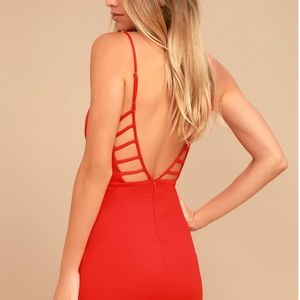 Lulu's So Good Coral Red Bodycon Dress